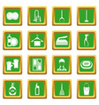 house cleaning icons set green vector image vector image