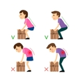 Incorrect and Correct posture while Weight Lifting vector image vector image