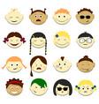 kids face set emoji portraits vector image vector image