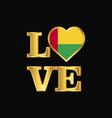 love typography guinea bissau flag design gold vector image vector image