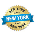 New York round golden badge with blue ribbon vector image vector image