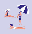 people in the beach with swimsuit vector image vector image