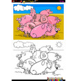 pigs farm animal characters group color book vector image vector image