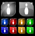 pin bowling icon sign Set of ten colorful buttons vector image