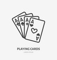 poker cards line icon pictogram of vector image vector image