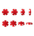 red plastic poker chips realistic set 3d chips vector image