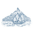 sailboat in the sea on a background of mountains vector image