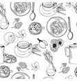 seamless pattern doodles food elements vector image vector image