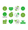set of bio healthy food badges vegan organic vector image