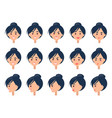 set of different emotions on cute female face vector image vector image