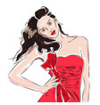 sexy fashion girl in red dress drawing in sketch vector image