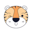 silhouette color sections of cute face of tiger vector image vector image