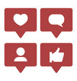 social media notifications icons set like vector image