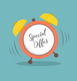 special offer alarm clock in flat style vector image