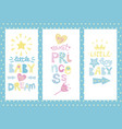 three kids posters with labels vector image vector image