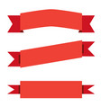 three red ribbon banner on white background red vector image vector image