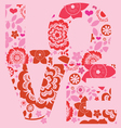 valentine day love message floral print vector image vector image