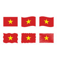 vietnam flag set official vector image vector image