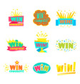 win congratulations stickers collection of comic vector image vector image