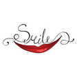 word smile and lips vector image vector image