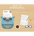 Workspace with typewriter coffee mug notes and vector image vector image
