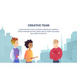 young people friendly talk on cityscape background vector image vector image