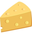 Piece Of Yellow Porous Cheese Food With Holes vector image