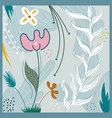 abstract hand drawn flower and leaves pattern vector image