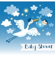 Baby boy shower invitation card with stork vector image vector image