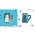 black wooden beer mug icon isolated on blue and vector image vector image