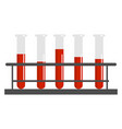 blood in tubes on white background vector image vector image