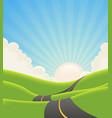 blue summer landscape road vector image vector image