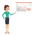 Business woman pointing on graph diagram vector image