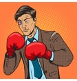 businessman fights in boxing gloves pop art vector image vector image