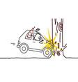 cartoon characters - drunk man car crash vector image