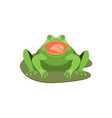 cartoon cute sleeping green frog character vector image