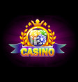 casino banner with ribbon icon and text vector image vector image