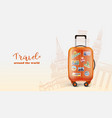 colorful traveling banner with orange bag vector image