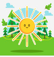 cute sun in forest vector image