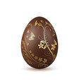 easter egg 3d icon chocolate brown egg isolated vector image vector image