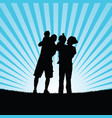 family with baby in nature silhouette vector image vector image