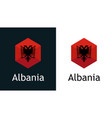 flag albania in style hexahonal shape vector image