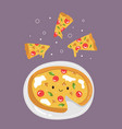 funny pizza with delicious ingredients and tasty vector image
