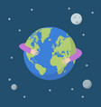 hands hug earth globe vector image