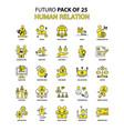 human relation icon set yellow futuro latest vector image