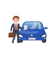 insurance agent showing paper document car vector image vector image
