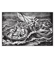 jesus sleeps through a storm at sea vintage vector image vector image