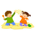 kid throwing sand vector image vector image