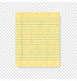 lined paper with shadow on blank background vector image vector image