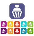 love cupcake icons set flat vector image vector image